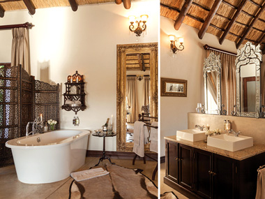 Luxury bathroom suite bath shower Honeymoon Suite Kings Camp Timbavati Game Reserve Accommodation Booking Hoedspruit Limpopo Mpumalanga Five Star