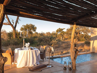 Luxury Honeymoon Suite Patio view Private Dinner Kings Camp Timbavati Game Reserve Accommodation Booking Hoedspruit Mpumalanga Five Star