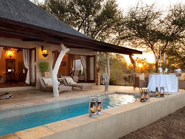 Luxury Honeymoon Suite Kings Camp Patio view Private Dinner Plunge Pool Timbavati Game Reserve Accommodation Booking Five Star