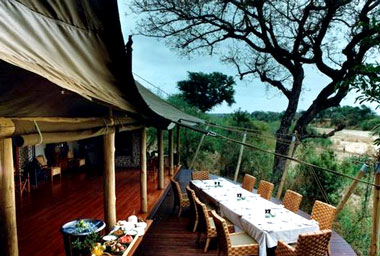 Main lodge deck Ngala Tented Camp Timbavati Game Reserve Mpumalanga Luxury South African Safari
